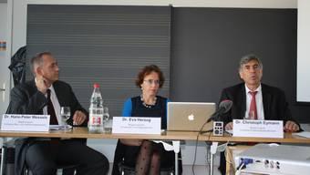 Die Regierungsräte Hans-Peter Wessels, Eva Herzog und Christoph Eymann geben Auskunft zur baulichen Umsetzung.