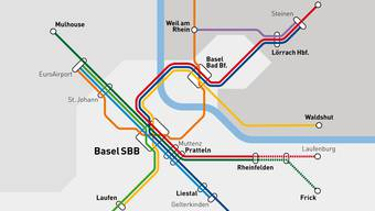 So könnte das trinationale S-Bahn-Netz 2040 aussehen. Zwei durchgezogene Striche auf einer Linie ergeben einen Viertelstundentakt.