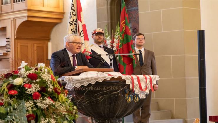 Kaspar Villiger gestern bei seiner Festrede in der Stadtkirche Zofingen. Bild: Lorenz Frey