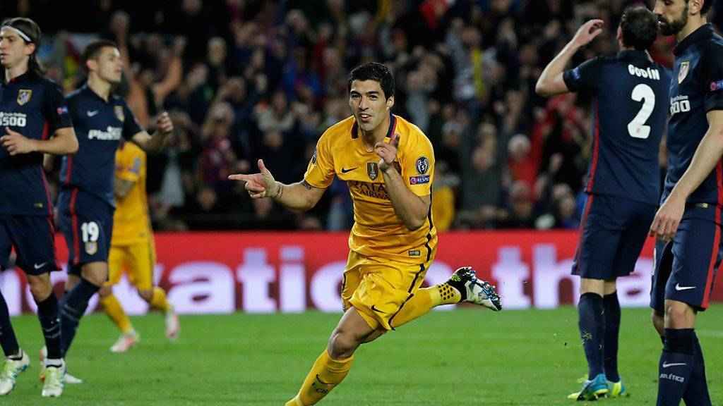 Matchwinner: Barcelonas Luis Suarez setzt nach seiner Doublette zum Jubel an