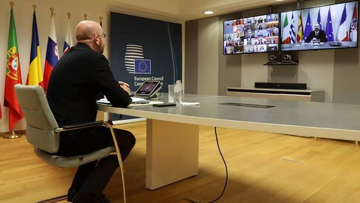 EU-Ratspräsident Charles Michel nimmt an einer Video-Gipfeltreffen der G20 teil. Deren Vorsitzender, der saudiarabische König Salman, rief dabei zu Solidarität mit Entwicklungsländern in der Corona-Krise auf.
