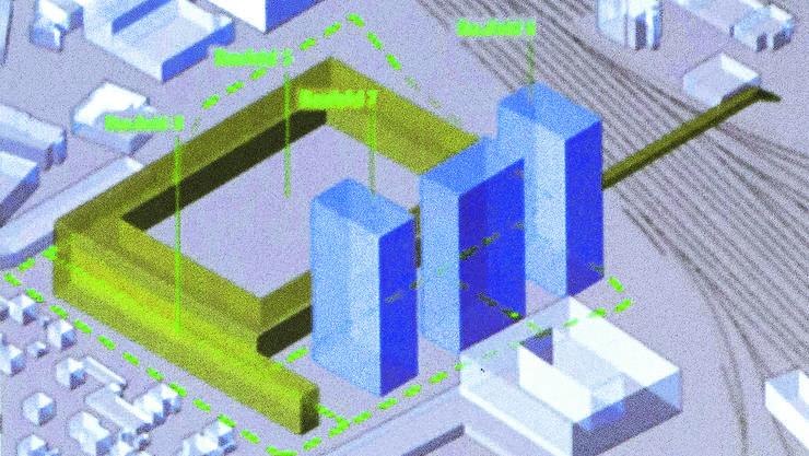 Die drei Hochhäuser (blau) sollen östlich des Stadions (grün) gebaut werden.