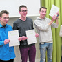 Qualifiziert für den nationalen Final (v.l.): Luca Andrea Moser, David Gabi (beide Kantonsschule Zofingen), Andrin Liechti (Alte Kantonsschule Aarau) und Lorena Reusser (Kantonsschule Wettingen).