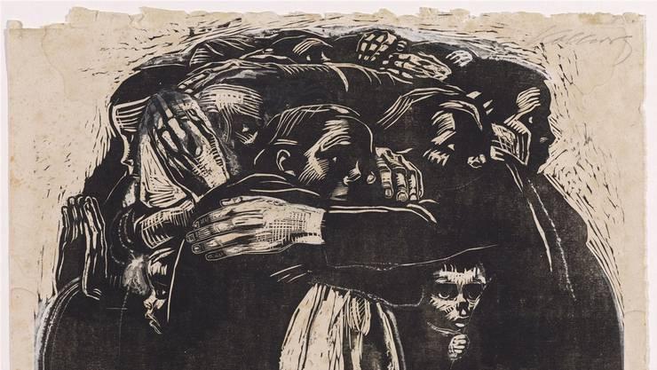 Käthe Kollwitz (1867–1945), «Die Mütter», Mitte Okt. 1921 – spätestens Anfang 1922, Holzschnitt auf Japanpapier, überarbeitet, Blatt 36,5 x 43,1 cm (grösste Masse), Bild 34 x 40 cm. Kupferstichkabinett.
