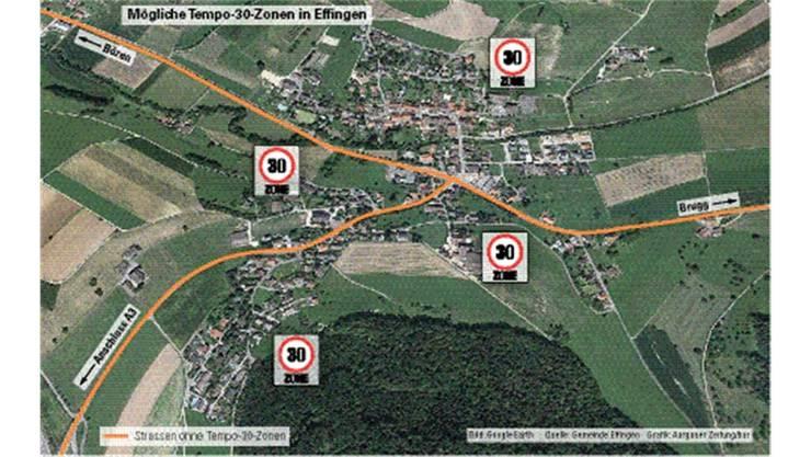 Mögliche Tempo-30-Zonen in Effingen