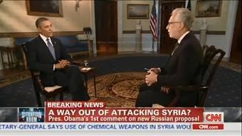 US-Präsident Obama spricht mit Wolf Blitzer von CNN über einen möglichen MIlitäranschlag gegen Syrien. (Screenshot: youtube.com)