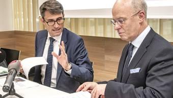 Gesundheitsdirektor Lukas Engelberger und Spital-CEO Werner Kübler
