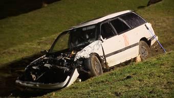 Bei einem Unfall in Vorderthal (SZ) durchbricht ein 18-jähriger Lenker eine Leitplanke. Vier Personen werden verletzt.
