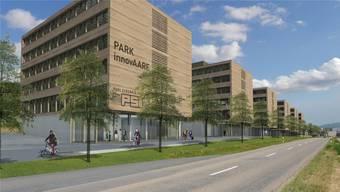 Die Visualisierung zeigt, wie sich der Park Innovaare an der Kantonsstrasse dereinst präsentieren soll.
