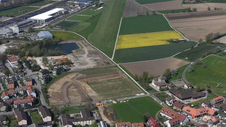 Luftbild der Grabungsstätte in Hegmatten