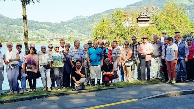 Pensionierte vor der Kulisse der Insel Schwanau am Lauerzersee