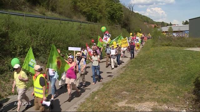 Deutsche demonstrieren gegen Atomkraftwerk Beznau
