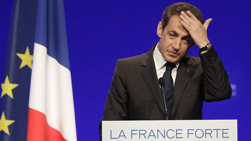 ARCHIV - Nicolas Sarkozy, ehemaliger Präsident von Frankreich, spricht während einer Wahlkampfveranstaltung im Rahmen der Präsidentschaftswahlen in 2012. . Foto: Michel Euler/AP/dpa