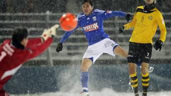 Winterliche Kulisse beim Challengel-League-Spiel Schaffhausen - Lausanne