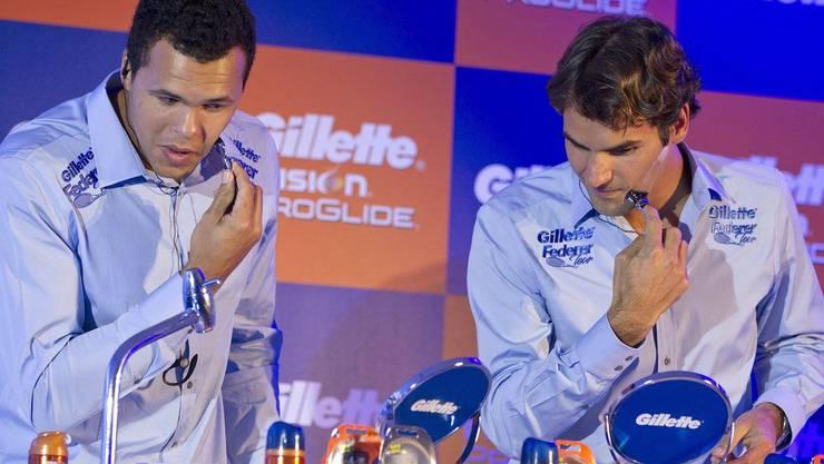 Federer und Tsonga beim Rasiertest: Gibt es überhaupt was zu schneiden?