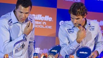 Einmal rasieren bitte: Federer und Tsonga im Bart-ab-Wettbewerb