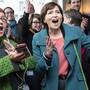Grünen-Präsidentin Regula Rytz hatte gestern alle paar Minuten Grund zur Freude. (Bild: Peter Schneider/Keystone)