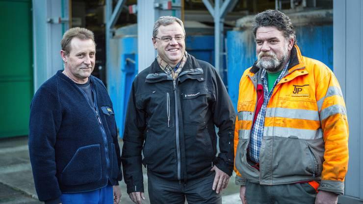 etriebsleiter Ruedi Bürki, Gemeindeammann Bruno Gretener und Chauffeur Peter Jenni (v.l.n.r.)