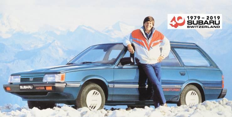 Bernhard Russi mit einem Subaru Leone.