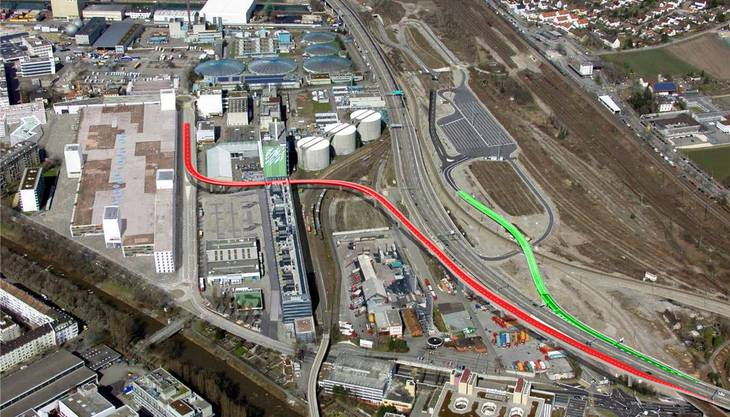 Die Rampe (rot) in der Nähe der Stücki führt Richtung Süden auf die A2. Die andere Rampe (grün) ist schon seit einem Jahr fertig.