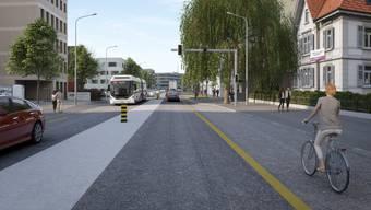 Die Buchserstrasse in Aarau soll neu gestaltet werden. (Visualisierung)
