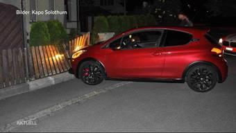 In Gerlafingen krachte ein vor der Polizei flüchtendes Auto in einen Gartenzaun.  Zum Glück wurde niemand verletzt, der Schreck sitzt jedoch tief.