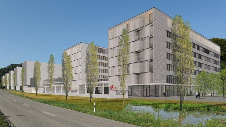 Der Park Innovaare in Villigen ist mit sechs neuen Hightech-Unternehmen weiter gewachsen im Jahr 2017. Die Visualisierung zeigt, wie sich der Park Innovaare dereinst präsentieren wird.