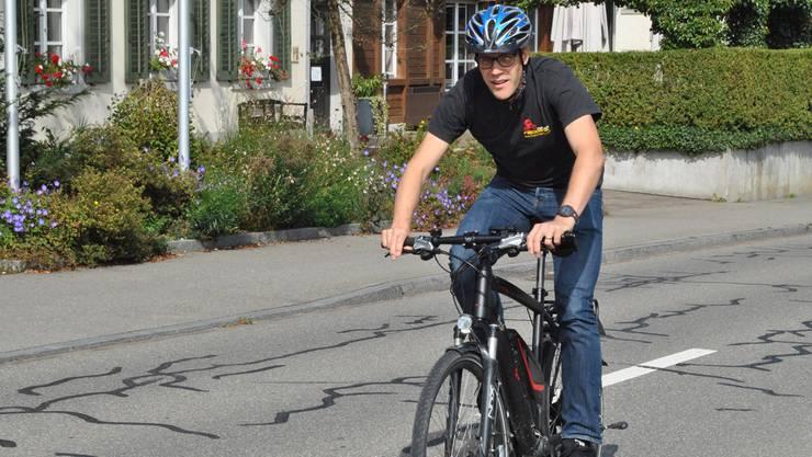 Oskar Klockar drehte auf dem E-Bike kurz vor der Rückgabe noch eine Extrarunde für die az