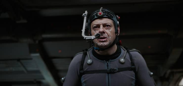 Vorher: Andy Serkis trägt beim Dreh einen Performance-Capture-Anzug.