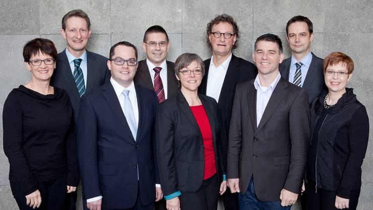 Daniela Berger (SP), Heinz Kubli (Stadtschreiber), Roger Huber (FDP), Markus Schneider (Vizeammann, CVP), Regula Dell'Anno-Doppler (SP), Geri Müller (Stadtammann, team baden), Matthias Gotter (CVP), Patrick Schärer (Verwaltungsleiter), Ruth Müri (team baden).