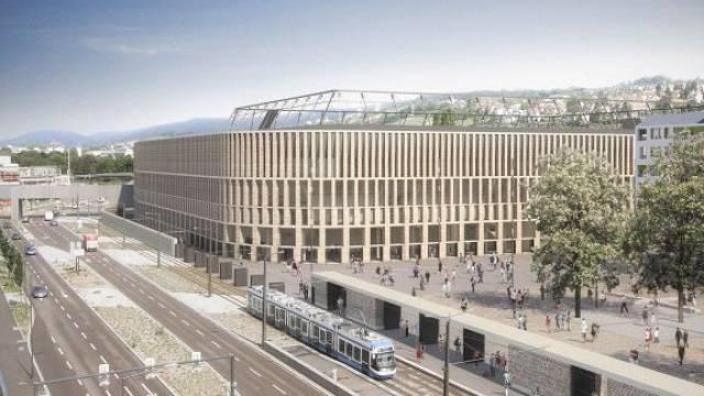 So soll das neue Fussballstadion beim Hardturm aussehen. Foto: BU