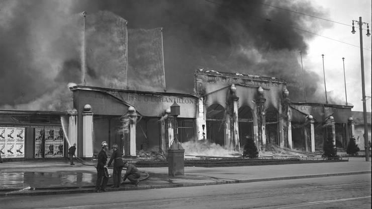 Muba 1923 - Am Bettag zerstörte ein Brand innerhalb einer Stunde die Gebäude der Schweizer Mustermesse.