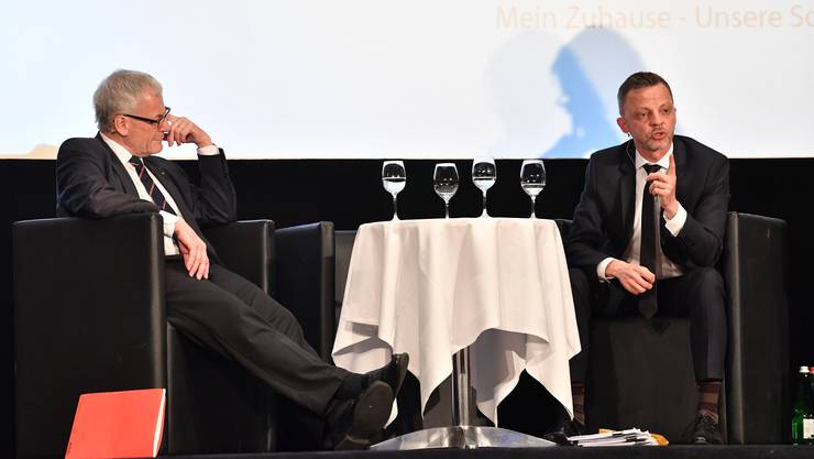 Der Solothurner FDP-Nationalrat Kurt Fluri (links) und der Zürcher SVP-Nationalrat Hans-Ueli Vogt im Kino Capitol.