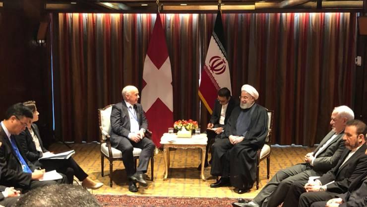 Ein bilaterales Treffen zwischen Bundespräsident Ueli Maurer und seinem iranischen Amtskollegen Hassan Ruhani in New York verlief in einer freundschaftlichen Atmosphäre.