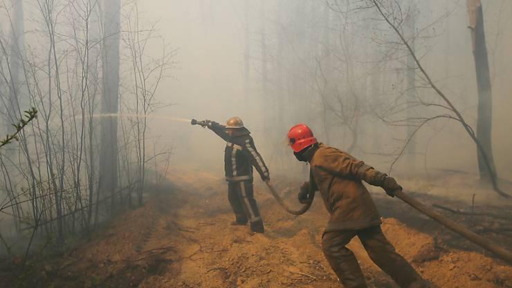 Feuerwehrleute im Einsatz nahe der radioaktiv belasteten Sperrzone um das Atomkraftwerk Tschernobyl in der Ukraine. (Archivbild)