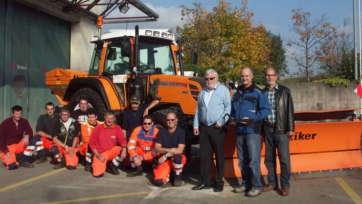 Die Bauamts-Crew mit (v.r.) Bauverwalter Lukas Sigrist, Urs Bögli, Gemeindepräsident Beat Rüetschi und Werkmeister René Fehlmann.
