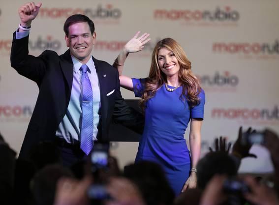 Marco Rubio mit seiner Frau, eine ehemalige Cheerleaderin