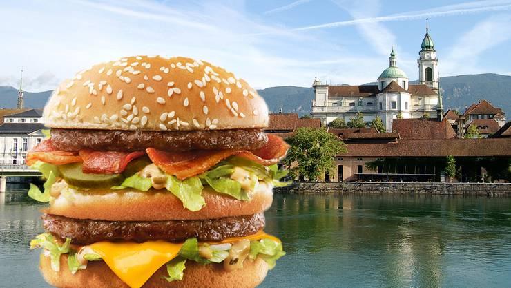 Ein grosser Burger und Solothurn – passt das? McDonald's versucht in einer Werbung, die zwei Dinge passend zu machen.