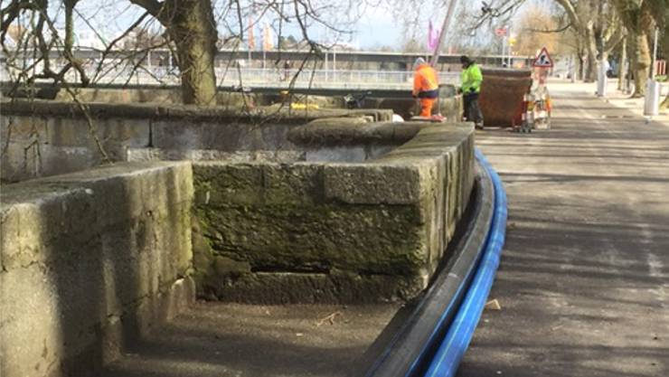 Rohre für die Grundwasserkühlung des neuen BBZ.