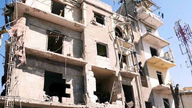 Ein zerstörtes Gebäude in der syrischen Hauptstadt Damaskus
