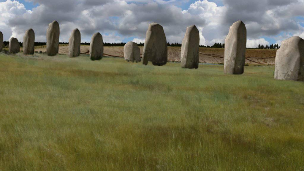 Visualisierung der Steine des Monuments der von Forschern entdeckten steinzeitlichen Anlage bei Stonehenge.