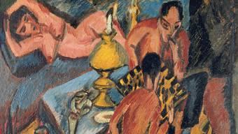 Die in Berlin entstandenen Bilder, hier von 1913, sind häufig Zeugnisse eines Beobachters, der sich am Rand der bürgerlichen Gesellschaft bewegte.