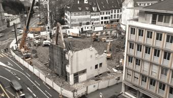 Die Baustelle beim Kunstmuseum: Bald wird wieder in die Höhe gebaut