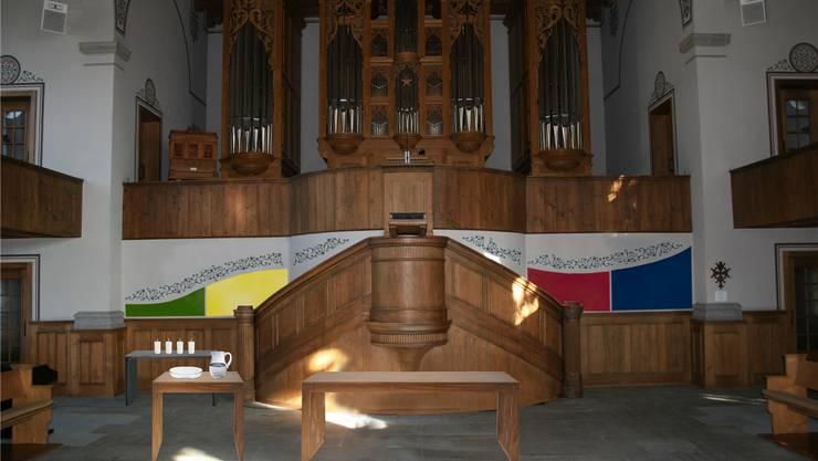 Fotomontage des neuen Chorraums: Im Hintergrund sieht man den in farbigen Kacheln gestalteten Lebensweg.