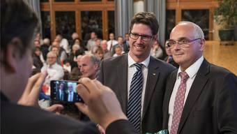 Schaffen sie die bürgerliche Wende im Kanton Bern? Die beiden SVP-Regierungsratskandidaten Lars Guggisberg undPierre Alain Schnegg (rechts) fordern die zwei SP-Kandidaten heraus.ALESSANDRO DELLA VALLE/Keystone