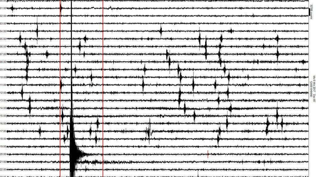 Seismogramm zeigt das Erdbeben mit einer Magnitude von 4,6 auf der Richterskala bei Linthal Glarus.