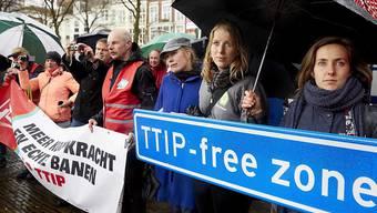 In Europa kommt es immer wieder zu Anti-TTIP-Demonstrationen, wie im Bild vergangene Woche in Den Haag