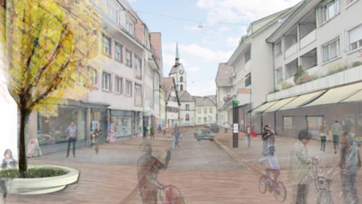 So sieht die Visualisierung des neuen Dorfkerns von Riehen aus. (Archiv)