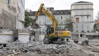 Die Baustelle für das Botta-Bad in Baden im Bäderquartier am 25. April 2018