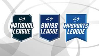 So sehen die neuen Logos der drei höchsten Schweizer Ligen aus: Die NLB heisst neu «Swiss League».